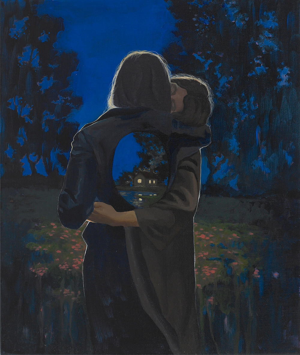 Painting of two people embracing in woods with house
