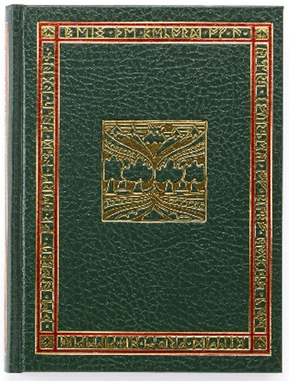 Green leatherette slip case and book binding with gold and red foil imprints on spine and face.