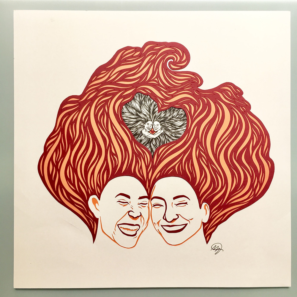 Painting of two smiling women whose red hair flows above their heads wrapped around two embracing women with black hair in a heart shape