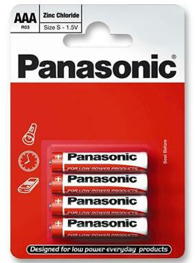 Red Zinc Carbon AA Batteries, 4 Pack