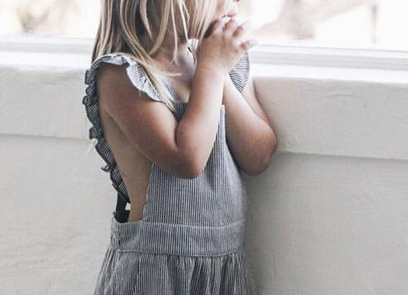 Ruffle Striped Overalls