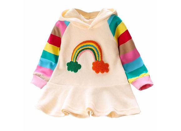 Rainbow Ruffle Hoodie Dress