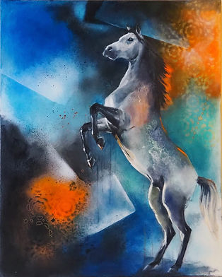 FIERY HORSE 18x24 Mixed Media Oil For sale at the Hoosier Artist Gallery, Nashville, IN,USA