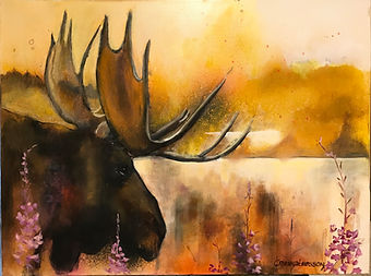 MOOSE LAKE 18x24 Mixed Media Oil For sale at the Hoosier Artis Gallery, Nashville, IN, USA