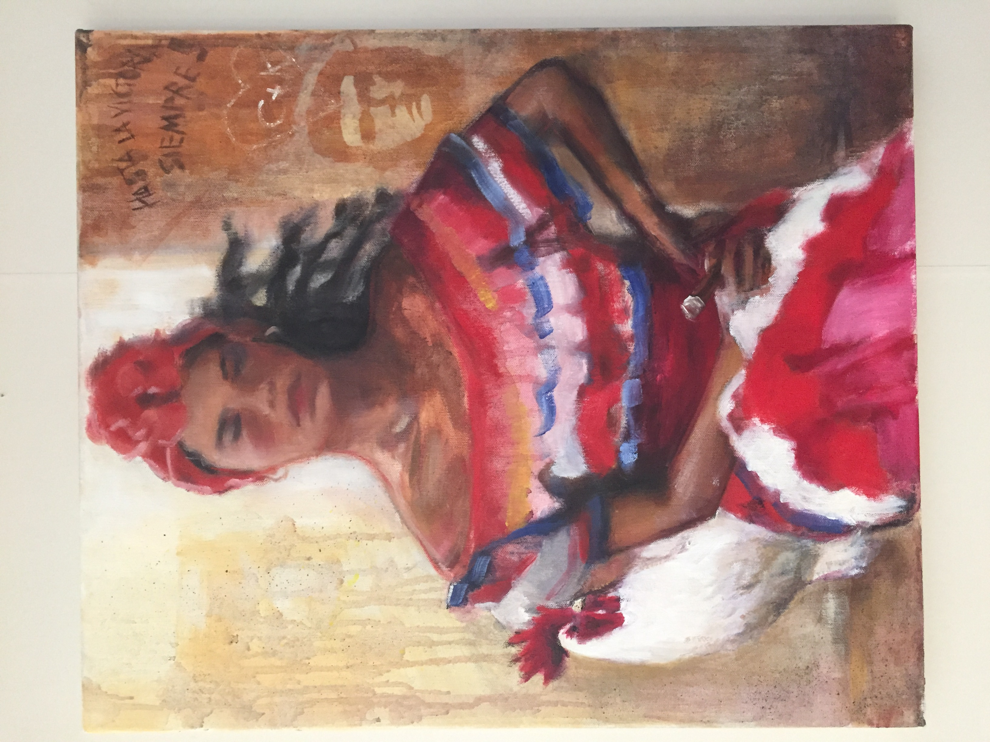 Cuban woman with cigar and rooster