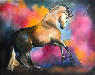 FIERY HORSE II 18x24 Mixed Media Oil For sale at Hoosier Artist Gallery, Nashville, IN, USA