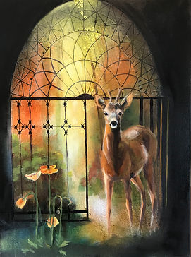 GATE OF AUTUMN 18x24 Mixed media oil For sale at the Hoosier Artist Gallery, Nashville, IN, USA