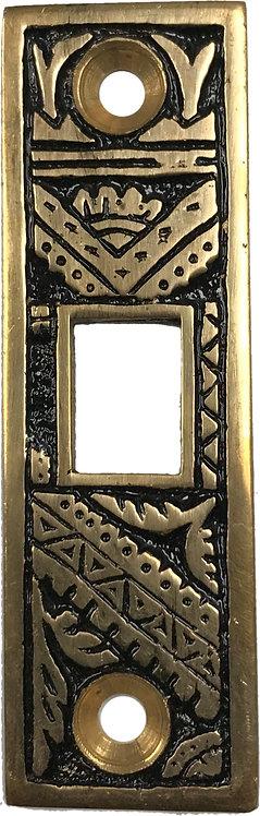 Oriental pocket door strike plate