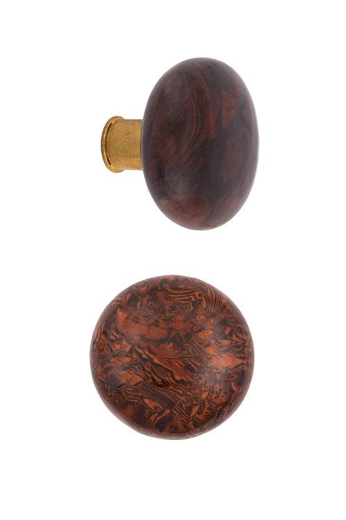 Rim Lock Bennington Ceramic Doorknobs with Brass Ferrules