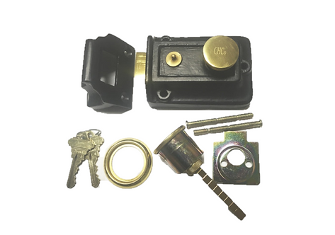 iron rim lock with keyed cylinder #2022.693