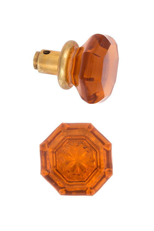 Amber Octagonal Glass Doorknob #2708.USXX