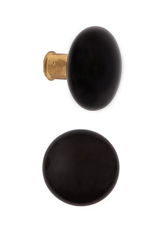Rim Lock Type Black Ceramic Doorknobs with Brass Ferrules