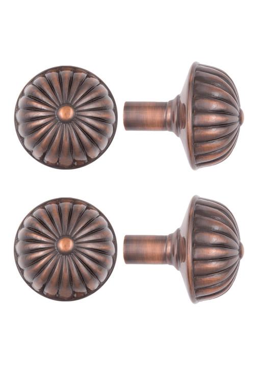 copper door knobs. roanoke ribbed doorknobs, antique copper finish door knobs