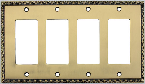 Egg and Dart quadruple GFI switch plate 3 finishes