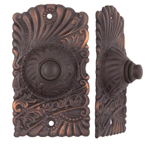 Antique Copper Roanoke Doorbell Button #1536.US8 - Charleston Hardware Co. Antique Restoration And Decorative Hardware