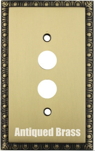 Egg and Dart single push button switch plate 3 finishes