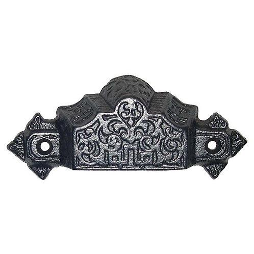 Cast iron scroll bin pull