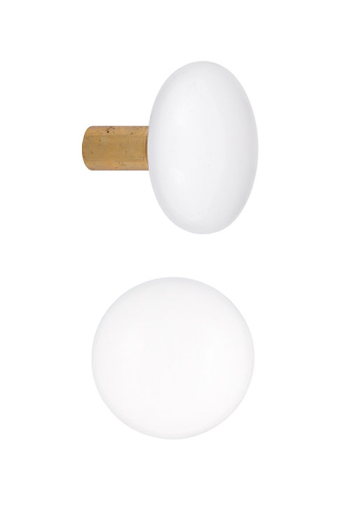 Mortise Type White Ceramic Doorknobs with Brass Ferrules