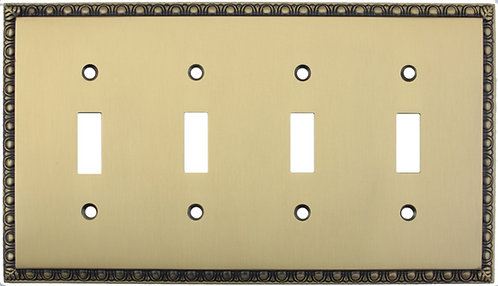 Egg and Dart quadruple toggle switch plate 3 finishes