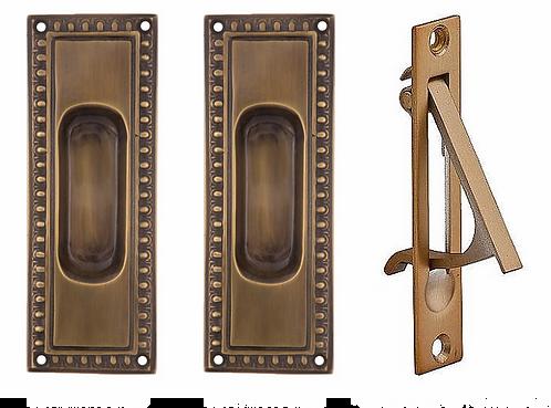 Egg and Dart Passage Pocket Door Set Antique Brass
