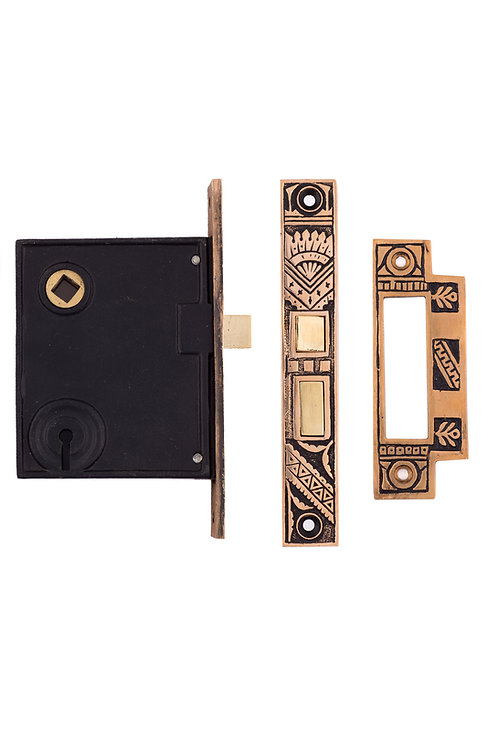 Oriental Keyed Mortise Lock w/ Strike Plate #1328.USXXX