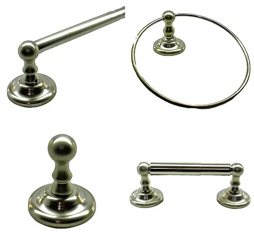 Ball tipped towel bar, ring, hook and paper holder