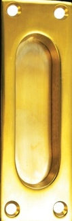 Small NY Cast Brass Pocket Door Handle