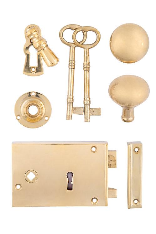 Horizontal Brass Rim Lock Set #200X.US3A