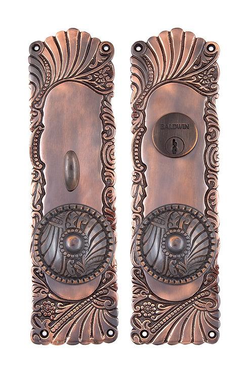Antique Copper Roanoke Entry Sets w/ Floral Doorknobs #154X.USXXX