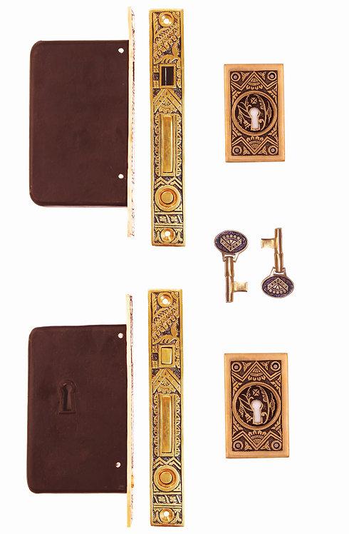 Oriental Rectangular Double Pocket Door Locking Sets #1308A.USXX