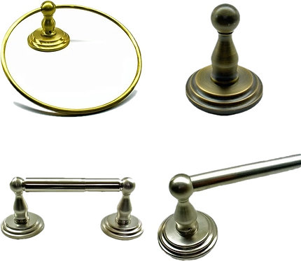 Stepped towel bar, ring, hook, paper holder