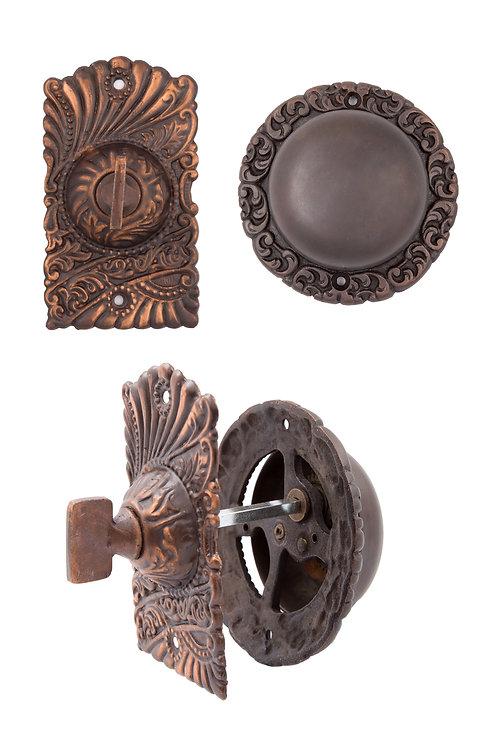 Antique Copper Roanoke Mechanical Doorbell  #1537.US8