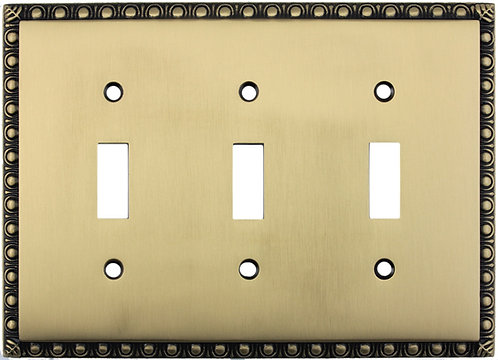 Egg and Dart tripple toggle switch plate 3 finishes