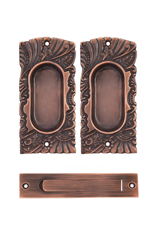 Antique Copper Roanoke Passage Pocket Door Set #1529.USXXX