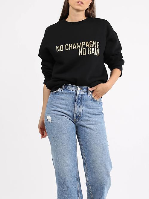 "The ""NO CHAMPAGNE NO GAIN"" Classic Crew Neck Sweatshirt | Gold Glitter"