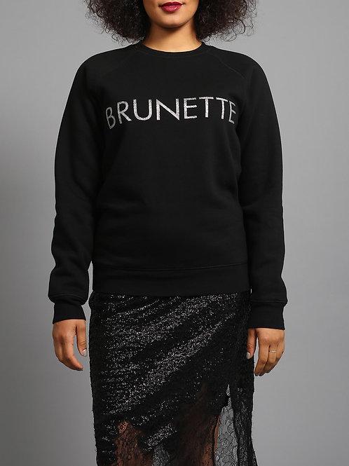 """Brunette the Label Silver Glitter """"Brunette"""" Crew Neck"""