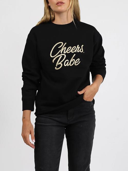"The ""CHEERS BABE"" Classic Crew Neck Sweatshirt | Gold Glitter"