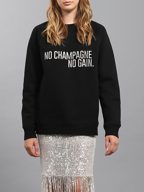 "Brunette the Label Silver Glitter ""No Champagne No Gain"""