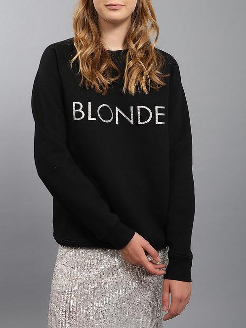 "Brunette the Label Silver Glitter ""Blonde"" Crew Neck"