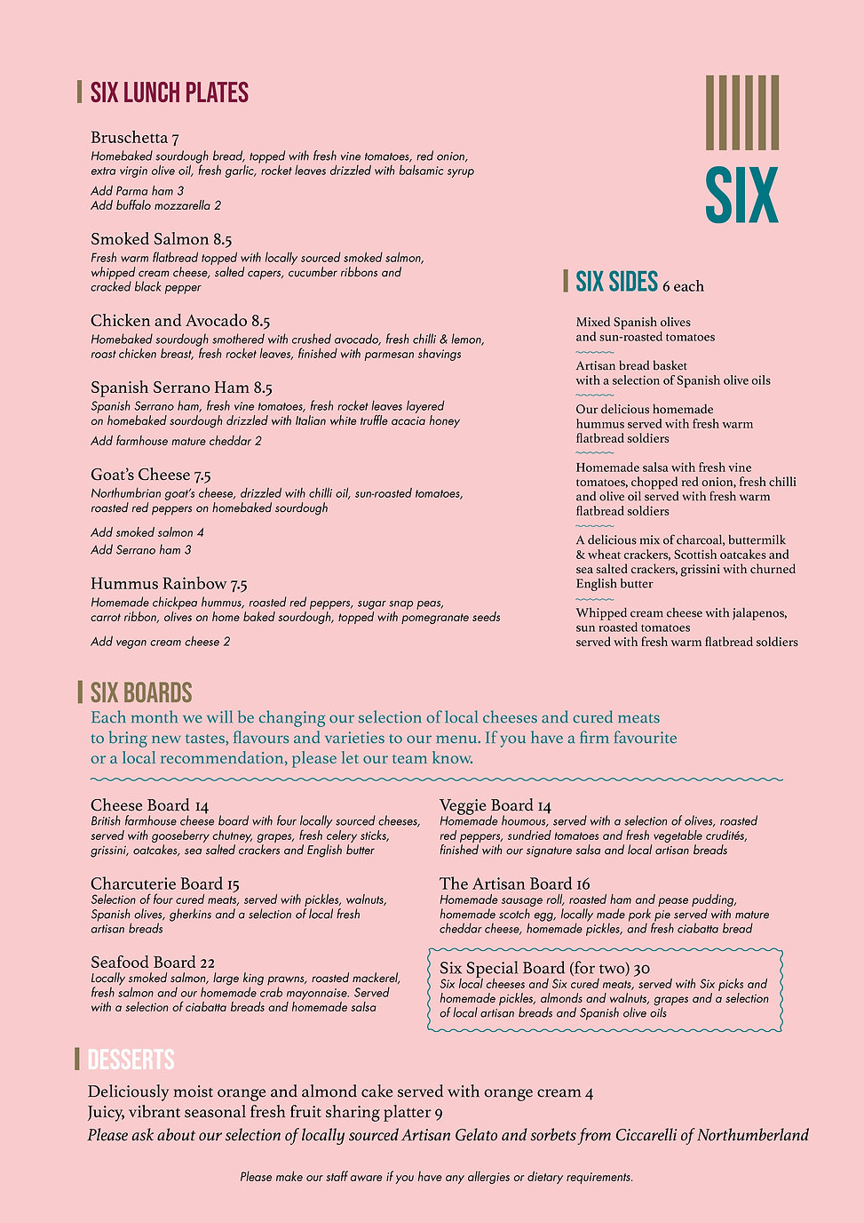 The Six Food menu