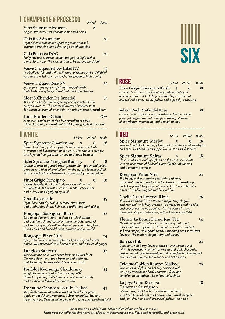 The Six WINE menu