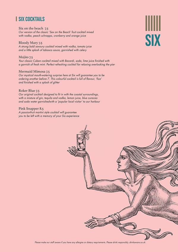 The Six Cocktails menu