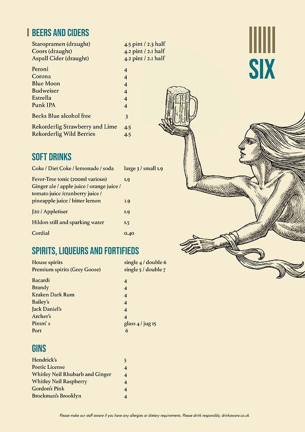 The Six Beers menu