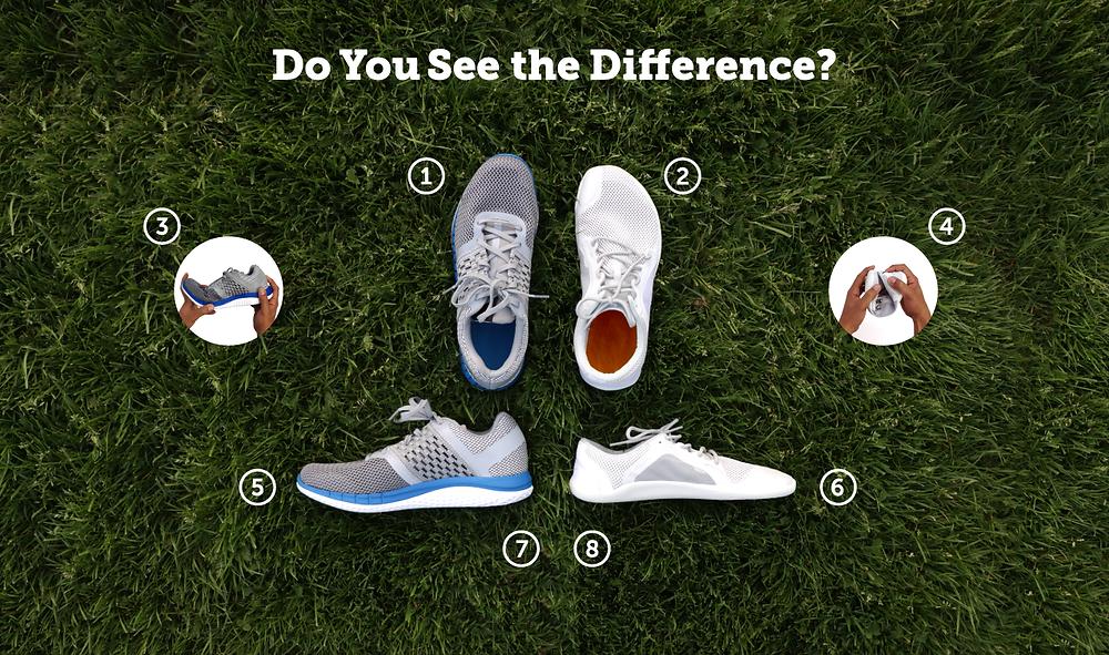 Conventional vs natural footwear