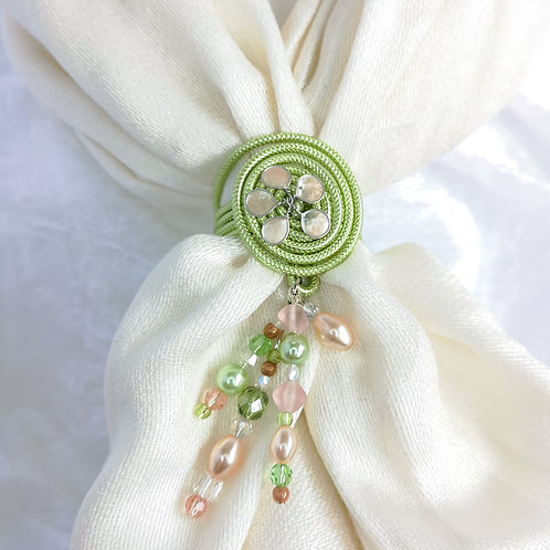 Pale green scarf ring, handmade scarf jewel with pale pink flower