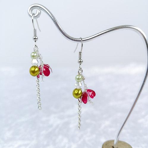 Fuchsia flowers, drop silver earrings