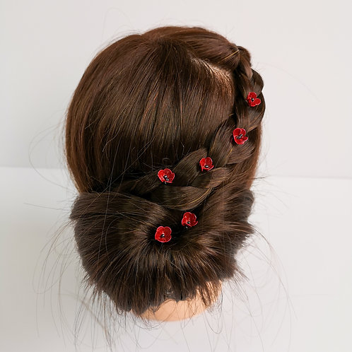 Set of 6 poppy hair pins