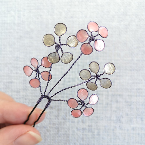 Floral bridal hair pin, metallic beige and pink