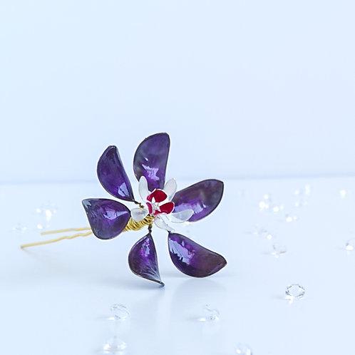 Purple, white and fuchsia flower hair pin - large flower