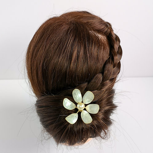 White pearl large bridal flower hair pin